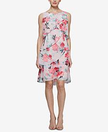 SL Fashions Floral Tiered Chiffon Dress