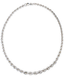 "Giani Bernini Graduated Rope 18"" Collar Necklace in Sterling Silver, Created for Macy's"