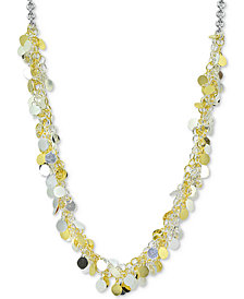 "Giani Bernini Two-Tone Shaky Disc 18"" Statement Necklace in Sterling Silver and 18k Gold-Plate, Created for Macy's"