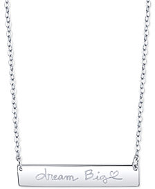 "Unwritten ""Dream Big"" Horizontal Bar 18"" Pendant Necklace in Sterling Silver"