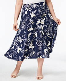 JM Collection Plus Size Jacquard Midi Skirt, Created for Macy's