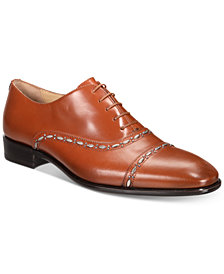 Roberto Cavalli Men's Cap-Toe Leather Oxfords