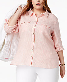 Tommy Hilfiger Plus Size Linen Striped Shirt, Created for Macy's