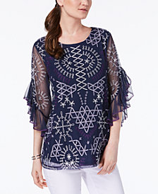Alfani Embroidered Ruffled-Sleeve Top, Created for Macy's