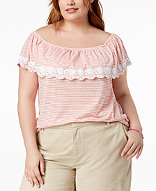 Tommy Hilfiger Plus Size Off-The-Shoulder Striped Top, Created for Macy's