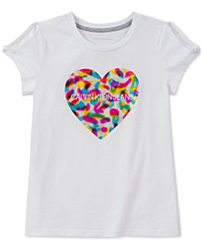 Calvin Klein Big Girls Heart-Print Logo T-Shirt