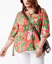 Tommy Hilfiger Plus Size Printed Utility Shirt, Created for Macy's