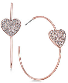 kate spade new york Rose Gold-Tone Pavé Heart Hoop Earrings