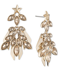 Givenchy Gold-Tone Crystal Cluster Drop Earrings