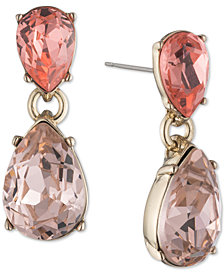 Givenchy Gold-Tone Crystal Teardrop Drop Earrings