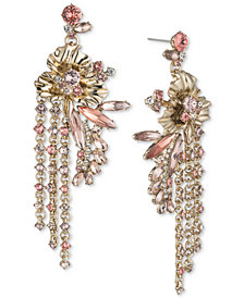 Givenchy Gold-Tone Crystal Flower Chain Drop Earrings