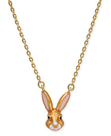 "kate spade new york Gold-Tone Enamel Bunny Pendant Necklace, 17"" + 3"" extender"