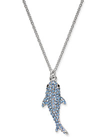 "kate spade new york Silver-Tone Pavé Shark 17"" Pendant Necklace"