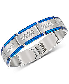Esquire Men's Jewelry Diamond Two-Tone Bracelet (1/2 ct. t.w.) in Stainless Steel & Blue Ion-Plating, Created for Macy's