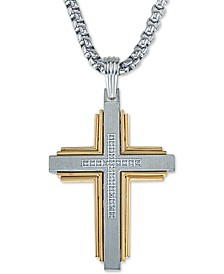 "Diamond Cross 22"" Pendant Necklace (1/10 ct. t.w.) in Stainless Steel & Ion-Plate, Created for Macy's"