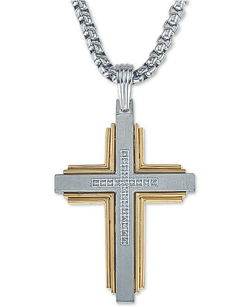 """Esquire Men's Jewelry Diamond Cross 22"""" Pendant Necklace (1/10 ct. t.w.) in Stainless Steel & Ion-Plate, Created for Macy's"""