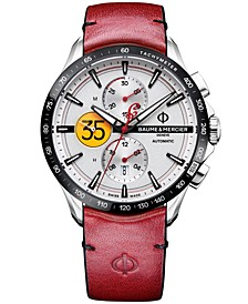 LIMITED EDITION Men's Swiss Automatic Chronograph Clifton Club Indian Red Leather Strap Watch 44mm - Limited Edition