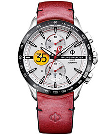 Baume & Mercier Men's Swiss Automatic Chronograph Clifton Club Indian Red Leather Strap Watch 44mm - Limited Edition