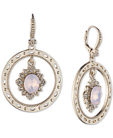 Marchesa Gold-Tone Stone & Crystal Orbital Drop Earrings