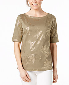 Karen Scott Petite Metallic-Print Top, Created for Macy's