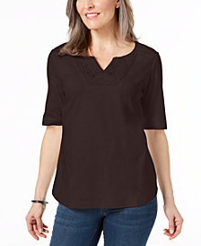 Karen Scott Cotton Tonal-Trim Top, Created for Macy's