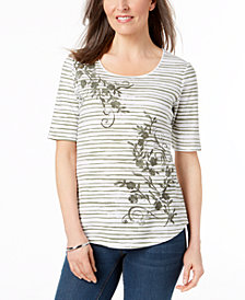 Karen Scott Embellished Mixed-Print Top, Created for Macy's