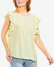 Vince Camuto Boat-Neck Ruffle-Sleeve Top