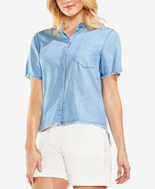 Vince Camuto Frayed Denim Button-Up Shirt