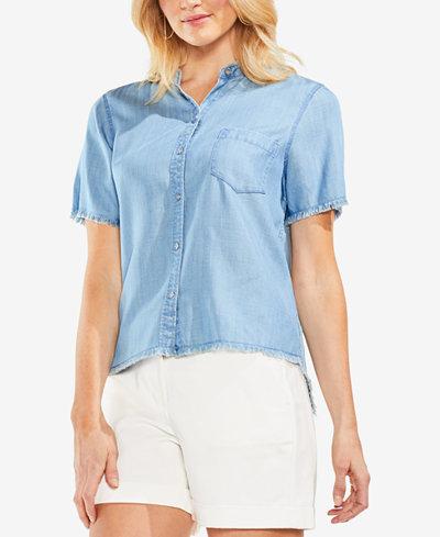 Vince Camuto Frayed Denim Button-Up Shirt