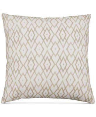 "Beige Printed 20"" Square Decorative Pillow"
