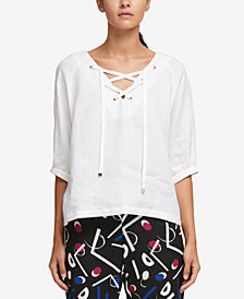 DKNY Linen Grommet Lace-Up Top, Created for Macy's