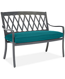 CLOSEOUT! Glenwood Outdoor Arm Bench with Sunbrella® Cushion, Created for Macy's