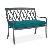 Glenwood Outdoor Arm Bench with Sunbrella Cushion (Spectrum Peacock)