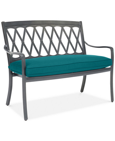Glenwood Outdoor Arm Bench with Sunbrella® Cushion, Created for Macy's
