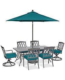 "CLOSEOUT! Glenwood Outdoor  7-Pc. Dining Set (72"" x 38"" Dining Table, 4 Dining Chairs & 2 Swivel Rockers) with Sunbrella® Cushions, Created for Macy's"