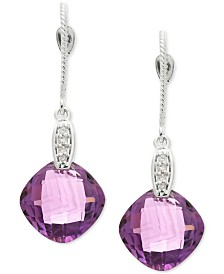 Amethyst (8 ct. t.w.) & Diamond Accent Drop Earrings in 14k White Gold