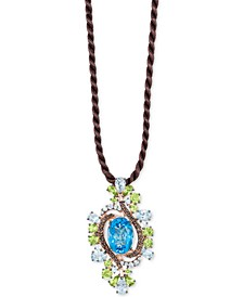 "Crazy Collection® Multi-Gemstone Silk Cord 18"" Pendant Necklace (12-5/8 ct. t.w.) in 14k Rose Gold"
