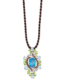 "Le Vian Crazy Collection® Multi-Gemstone Silk Cord 18"" Pendant Necklace (12-5/8 ct. t.w.) in 14k Rose Gold"
