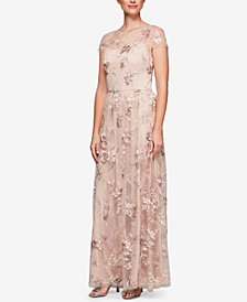 Alex Evenings Embroidered Short-Sleeve Gown