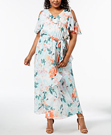 Calvin Klein Plus Size Cold-Shoulder Maxi Dress