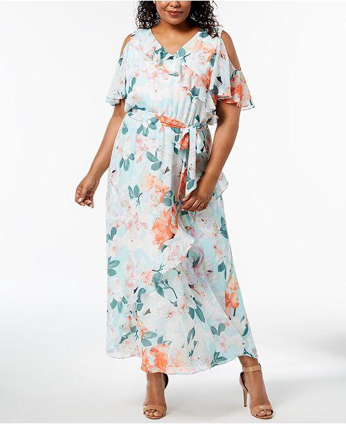 Calvin Klein Plus Size Cold-Shoulder Maxi Dress & Reviews ...