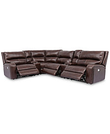 Brant 6-Pc. Leather Sectional Sofa With 3 Power Recliners, Power Headrests, 2 Consoles And USB Power Outlet