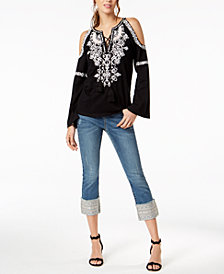 I.N.C. Embroidered Top & Cuffed Jeans, Created for Macy's