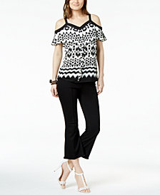 I.N.C. Printed Cold-Shoulder Top & Cropped Flare-Leg Jeans, Created for Macy's