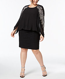 Betsy & Adam Plus Size Embellished Blouson Dress