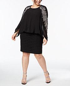 Betsy & Adam Plus Size Embellished Blouson Dress