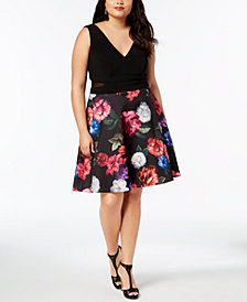 XSCAPE Plus Size Floral-Print Fit & Flare Dress