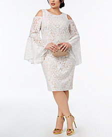 Xscape Plus Size Lace Bell-Sleeve Cold-Shoulder Dress