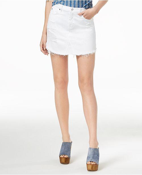 Frayed White All Mankind For Fashion Hem Ripped Denim 7 Skirt qPfIwx841