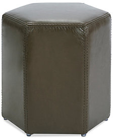 Ideal Leather Ottoman, Quick Ship